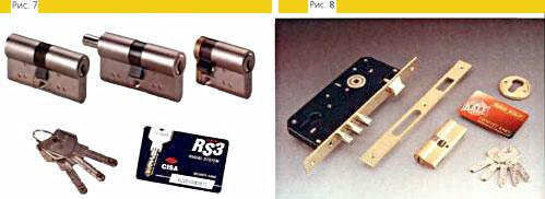 Рис. 7 Цилиндровый механизм CISA серия OB (RS3) с интерактивными вставками Рис. 8 Замок врезной KALE Kilit серия 2000