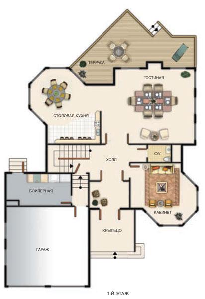 Рис. 1  План первого этажа